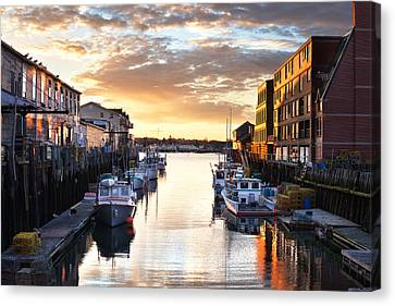 Portland Sunrise At The Custom House Wharf Canvas Print by Eric Gendron