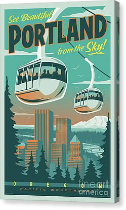 Portland Tram Retro Travel Poster Canvas Print