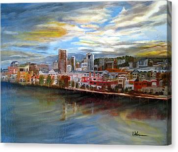 Portland Waterfront From Broadway Bridge Canvas Print