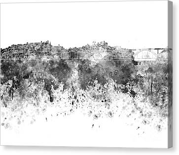 Porto Skyline In Black Watercolor On White Background Canvas Print