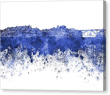 Porto Skyline In Blue Watercolor On White Background Canvas Print
