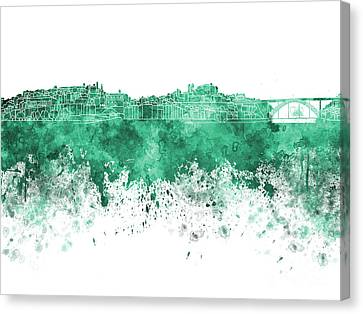 Porto Skyline In Green Watercolor On White Background Canvas Print