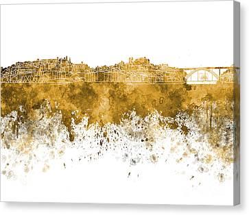 Porto Skyline In Orange Watercolor On White Background Canvas Print