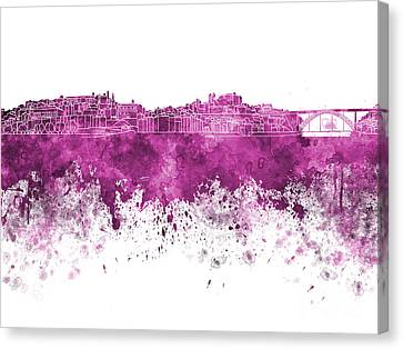 Porto Skyline In Pink Watercolor On White Background Canvas Print