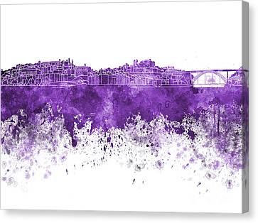 Porto Skyline In Purple Watercolor On White Background Canvas Print