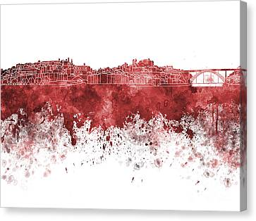 Porto Skyline In Red Watercolor On White Background Canvas Print