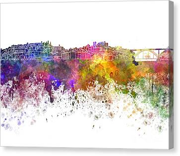 Porto Skyline In Watercolor On White Background Canvas Print