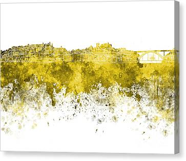 Porto Skyline In Yellow Watercolor On White Background Canvas Print