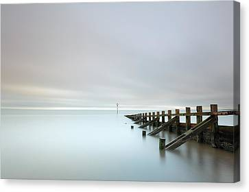 Canvas Print featuring the photograph Portobello Sea Groynes by Grant Glendinning