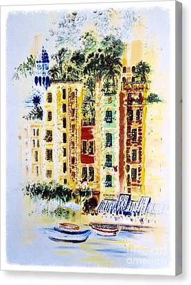 Portofino Cafe Canvas Print - Portofino  by Barbara Chase