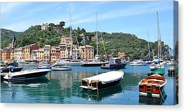 Portofino Boats Canvas Print by Corinne Rhode