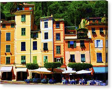 Portofino Cafe Canvas Print - Portofino Bright by Rochelle Berman