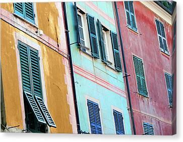 Portofino Facade Canvas Print by Al Hurley