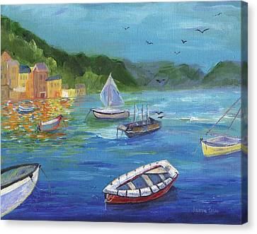 Canvas Print featuring the painting Portofino, Italy by Jamie Frier