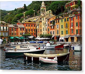 Canvas Print featuring the photograph Portofino Italy by Nancy Bradley