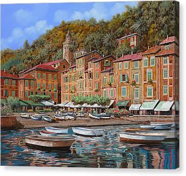 Portofino-la Piazzetta E Le Barche Canvas Print by Guido Borelli