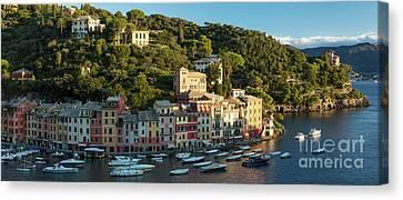 Portofino Morning Panoramic Canvas Print by Brian Jannsen