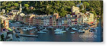 Canvas Print featuring the photograph Portofino Morning Panoramic II by Brian Jannsen
