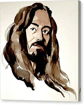 Watercolor Portrait Of A Man With Long Hair Canvas Print by Greta Corens