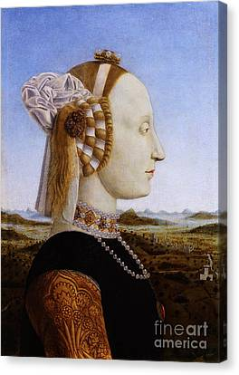 Portraif Of Battista Sforza Duchess Of Urbino Canvas Print by Celestial Images