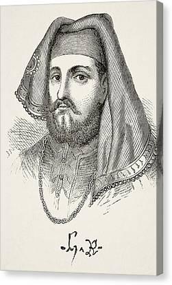 Portrait And Autograph Of King Henry Iv Canvas Print by Vintage Design Pics