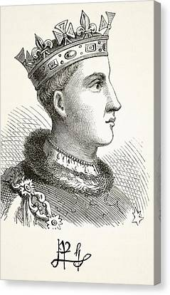 Portrait And Autograph Of King Henry V Canvas Print by Vintage Design Pics