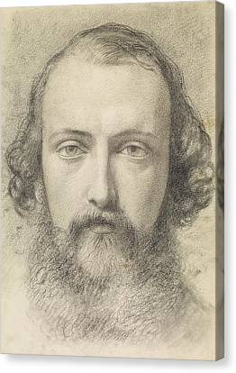 Portrait - Head Study Of Daniel Casey Canvas Print by Ford Madox Brown