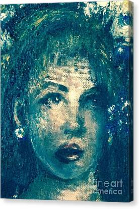 Canvas Print featuring the photograph Portrait In Blue by Laurie Lundquist