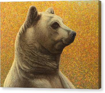 Portrait Of A Bear Canvas Print by James W Johnson