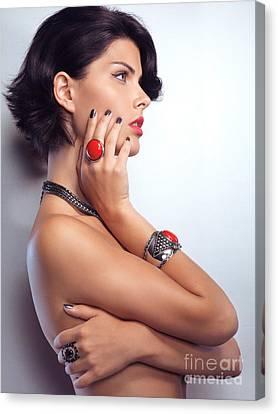 Portrait Of A Beautiful Woman Wearing Jewellery Canvas Print by Oleksiy Maksymenko