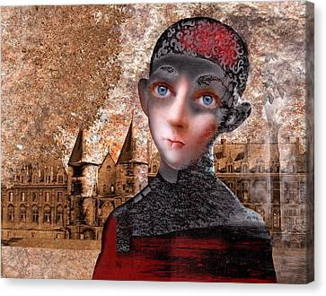 Portrait Of A Boy With A Castle In The Background. Canvas Print by Ilir Pojani