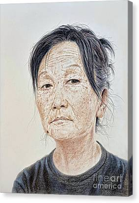 Portrait Of A Chinese Woman With A Mole On Her Chin Canvas Print by Jim Fitzpatrick