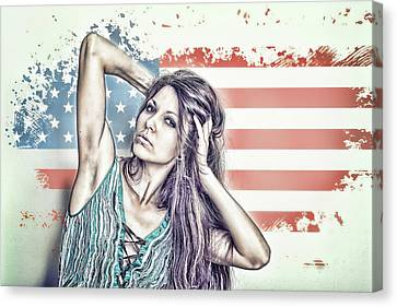 Portrait Of A Girl On The Background Of A Stylized Usa Map Canvas Print