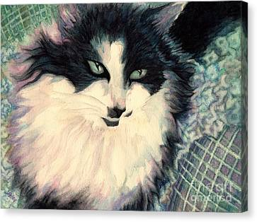 Portrait Of A Green Eyed Cat Canvas Print by Janine Riley