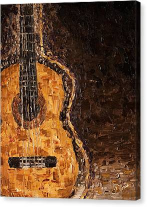 Oil On Canvas Print - Portrait Of A Guitar by Carlos Flores
