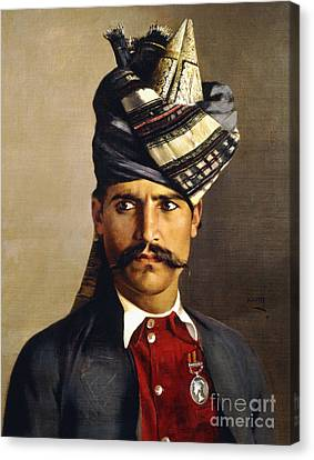 Portrait Of A Khattack In Military Headdress Canvas Print by Hubert Vos