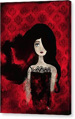Portrait Of A Lady Amidst A Red Damask Background Canvas Print by Yazmin Basa