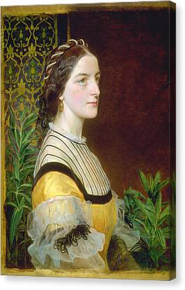 Portrait Of A Lady Canvas Print by Frederick Sandys