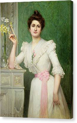 Daffodils Canvas Print - Portrait Of A Lady Holding A Fan by Jules-Charles Aviat