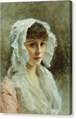 Portrait Of A Lady In A White Bonnet Canvas Print by Gustave Jean Jacquet