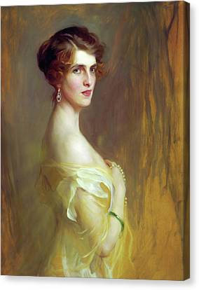 Portrait Of A Lady In Yellow Canvas Print by Georgiana Romanovna