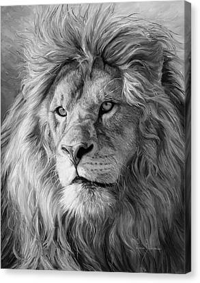 Portrait Of A Lion - Black And White Canvas Print by Lucie Bilodeau