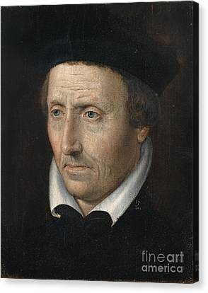 Portrait Of A Man With White Collar Canvas Print
