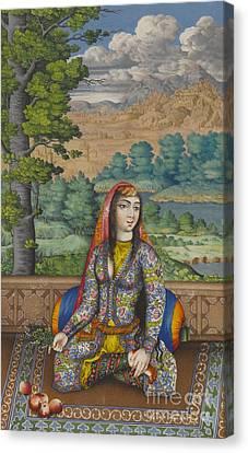 Women. Eighteenth Century Canvas Print - Portrait Of A Persian Lady by Persian School
