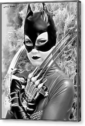 Dc Universe Canvas Print - Portrait Of A Retro Cat Lady by Jon Volden