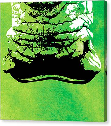 Rhino Animal Decorative Green Poster 8 - By  Diana Van Canvas Print by Diana Van