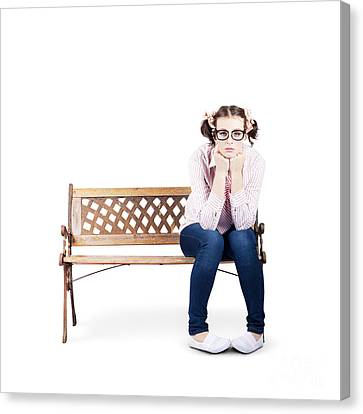 Portrait Of A Sad Lonely Woman Alone On Park Bench Canvas Print