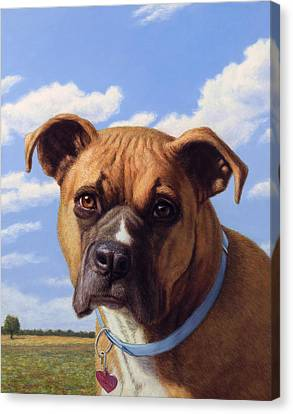 Canvas Print featuring the painting Portrait Of A Sweet Boxer by James W Johnson