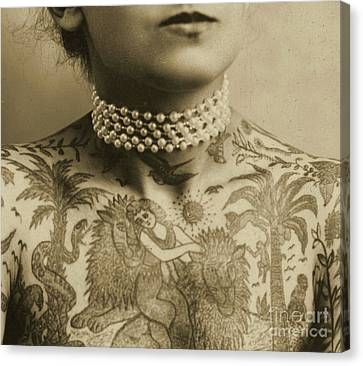 White Pearl Canvas Print - Portrait Of A Tattooed Woman, 1905 by English School