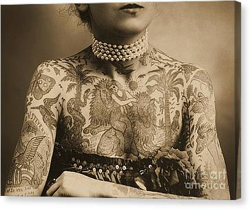 Portrait Of A Tattooed Woman Canvas Print by English School